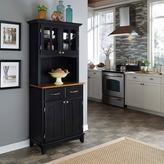 Home Styles Two-Drawer 31.25 in. W Black Buffet with Cottage Oak Wood Top and Hutch