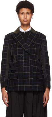 Sacai Black Wool Windowpane Check Blazer