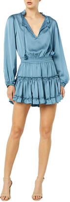MISA Los Angeles Lorena Smocked-Waist Long-Sleeve Tiered Mini Dress