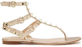 Valentino Rockstud Metallic Pebbled-leather Sandals