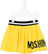 Moschino Kids logo print pleated skirt