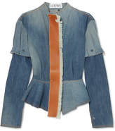Loewe Leather-trimmed Denim Peplum Jacket - Mid denim