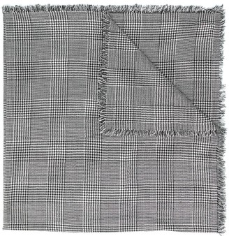 Faliero Sarti Houndstooth-Print Frayed Scarf