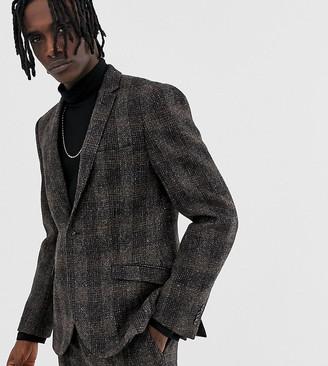 Heart N Dagger slim suit jacket in brown harris tweed