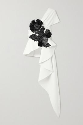 Oscar de la Renta One-shoulder Draped Embellished Wool-blend Top - Ivory