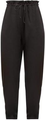 ALBUS LUMEN Agaso Drawstring-waist Linen Trousers - Black