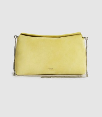 Reiss Evie - Suede Slouch Clutch in Bright Yellow