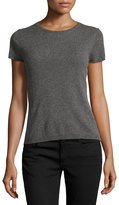 Neiman Marcus Cashmere Short-Sleeve Pullover Top, Gray