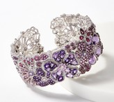 Judith Ripka Sterling Silver Couture Multi- Gemstone Floral Cuff, 20.15cttw