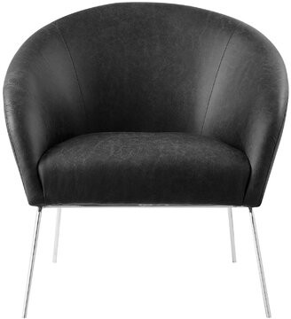 Nicole Miller Achilles Leather PU Barrel Chair Upholstery Color: Charcoal, Leg Color: Silver