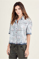 True Religion Floral Chambray Womens Shirt