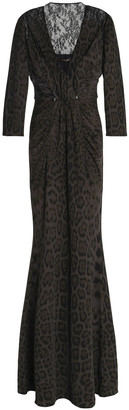 Roberto Cavalli Lace-paneled Gathered Stretch-jersey Gown