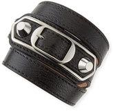 Balenciaga Classic Leather Wrap Bracelet, Black