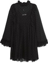 See by Chloe Ruffled Flocked Georgette Mini Dress - Black