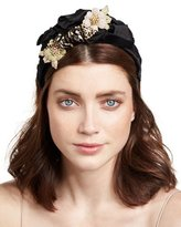 Jennifer Behr Tigre Floral Silk Satin Headband, Black