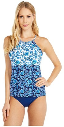 Tommy Bahama Woodblock Reversible Tankini (Mare Navy) Women's Swimwear