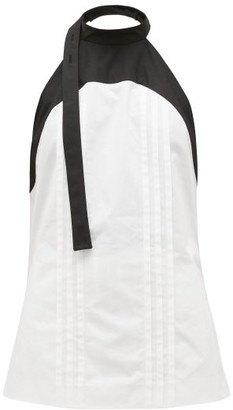Loewe Panelled Halterneck Cotton-poplin Blouse - White Black