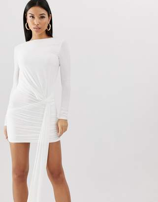 Club L London slinky tie side ruched mini bodycon dress in white