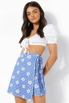 Thumbnail for your product : boohoo Floral Gingham Wrap Mini Skirt