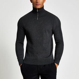River Island Grey half zip slim fit knitted jumper