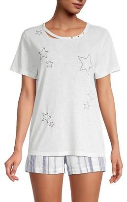 Miss Me 2-Piece Star Embroidered Pajama Set