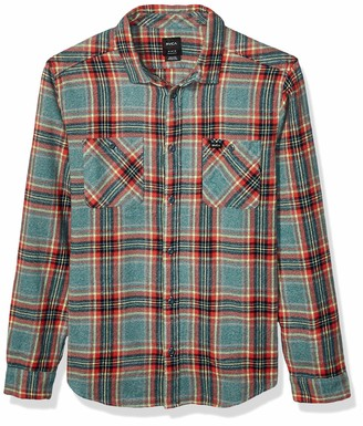 RVCA Men Mazzy Plaid Button-Up Flannel Grey Medium