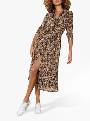 Mint Velvet Isabel Animal Midi Shirt Dress, Neutral