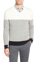 AG Jeans Green Label 'Admiral' Colorblock Wool & Cashmere V-Neck Sweater