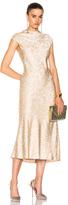 Protagonist Cap Sleeve Bias Dress in Floral,Neutrals,Pink.