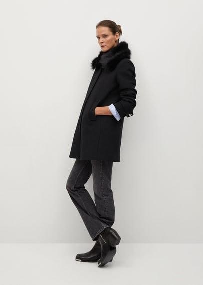 MANGO Detachable faux fur wool coat