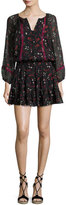 Joie Grover Floral-Print Silk Blouson Mini Dress, Black