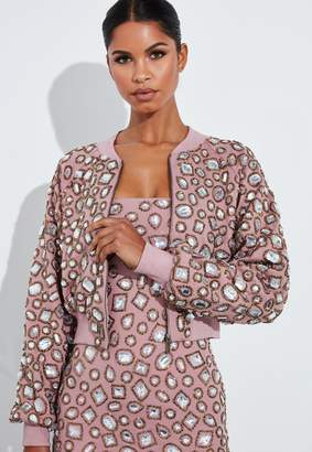 Missguided Rose Embellished Bomber Jacket