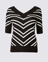 M&S Collection Striped V-Neck Half Sleeve Jumper
