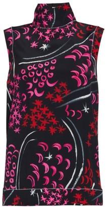Marni Multi-Print Funnelneck Silk Top