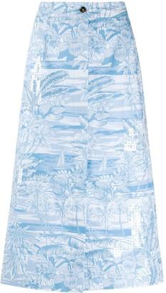 Brognano tropical-print A-Line skirt
