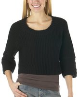 Juniors Xhilaration Cropped Shaker Pullover Sweater - Black