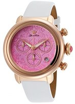 Glam Rock Gr77108 Women's Bal Harbour Chrono White Patent Leather Pink Dial Rose-Tone Ss Watch
