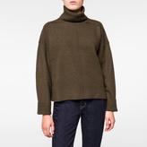 Paul Smith Women's Khaki Inverted-Seam Roll-Neck Wool Sweater