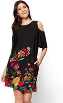 New York & Co. Cold-Shoulder Shift Dress - Floral