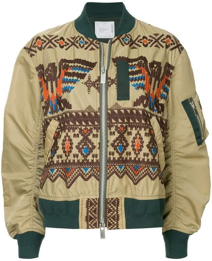 Sacai embroidered flight jacket