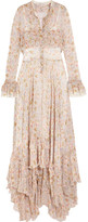 Philosophy di Lorenzo Serafini - Ruffled Floral-print Plissé-chiffon Maxi Dress - Cream