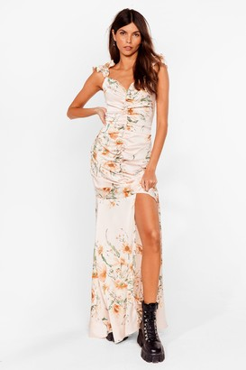 Nasty Gal Womens Sweet Thing Ruched Floral Maxi Dress - Pink - 6, Pink