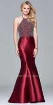 Faviana Scallop Beaded Mikado Mermaid Prom Gown