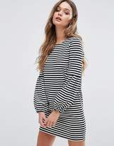 Boohoo Balloon Sleeve Stripe T-Shirt Dress