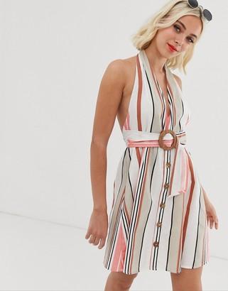 ASOS DESIGN halter neck mini button through linen sundress with buckle in stripe