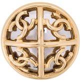 Chanel Vintage Round Logo Brooch