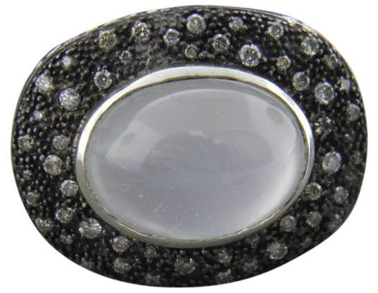 David Yurman 925 Sterling Silver with Moon Quartz and Diamonds Oval Midnight Meange Ring Size 7.5