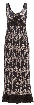 Paco Rabanne Lace-trimmed Floral-print Pleated Satin Dress - Black