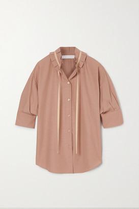 See by Chloe Tie-detailed Ruffled Crepe Blouse - Light brown