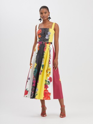 Oscar de la Renta Floral Stripe Poplin Dress